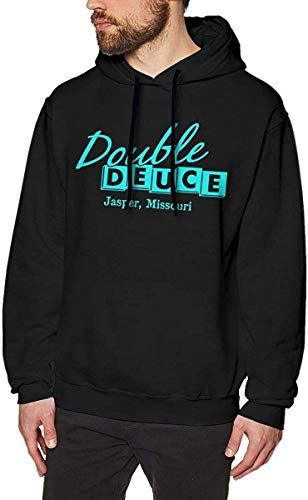 Rehero Men's Double Deuce Long Sleeve Hooded Sweat Shirt Pullover,As Pic,X-L