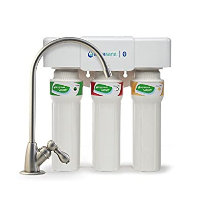 Aquasana AQ-5300+.55 3-Stage Max Flow Under Sink Water Filter with Brushed Nickle Faucet