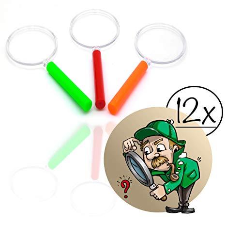 12x Lupen Set Kinder gemischte Farben| Lupe f. Forscher & Detektive zum erforschen von Insekten Pflanzen usw. | Taschenlupe als Mitgebsel Mitbringsel Gastgeschenk Giveaways zum Kindergeburtstag (12x)
