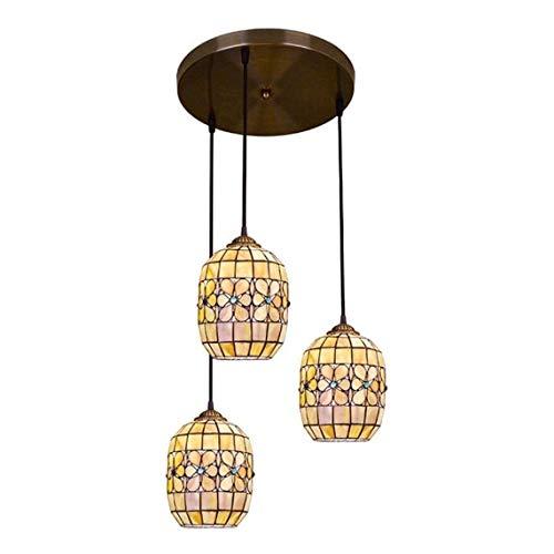 JUNJIJINGXIANG Lamparas Techo Colgantes Shell Natural del Estilo de Tiffany luz de la Linterna Luces Pendientes de la Vendimia Floral Pantallas de iluminación de la lámpara por la Isla de Comedor