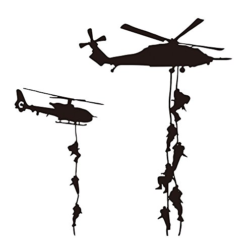 22x22' Helicopter Army Soldier Wall Stickers PVC Vinyl Art Decals Teens Boys Men Military Fans Bedroom Home Decoration