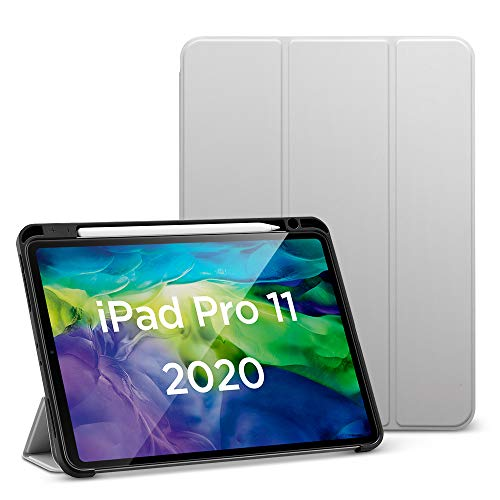 ESR for iPad Pro 11' Case 2020 & 2018 with Pencil Holder, Rebound Pencil iPad Case with Soft Flexible TPU Back Cover, Auto Sleep/Wake, and Multiple Viewing Stand Modes - Gray