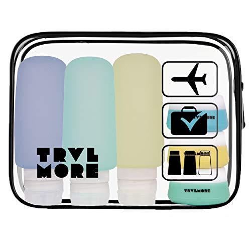 Navulbare Silicone Reisflesjes met Transparante Toilettas - Vliegtuig en Handbagage Set met Reis potjes, Flacons en Doorzichtige Etui - 6 Stuks