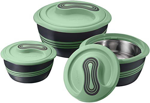 Pinnacle Insulated Casserole Dish with Lid 3 pc. Set 2.6/1.5/1 qt. Hot Pot Food Warmer/Cooler –Thermal Soup/ Salad Serving Bowl- Stainless Steel Hot Food Container–Best Gift Set for Moms –Holidays - Green