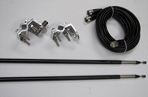 Read About Dual 1500 Watts Antenna kit, Twin-Log 4ft Antennas, 18FT Dual Coax, Brackets & Studs