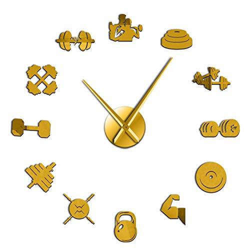 xinxin Reloj de Pared Bodybuilder Sport 3D DIY Reloj de Pared Culturismo para Amantes del Fitness Gimnasio Acrílico Efecto de Espejo Decoración de Pared Reloj Reloj para el hogar Oficina Escuela