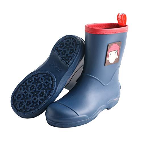WXYPP Jungen und Mädchen Slippery Regen Stiefel Nette Karikatur-Kursteilnehmer Kleber wasserdichte Stiefel, leicht und komfortabel (Color : Navy Blue, Size : 15.2cm)