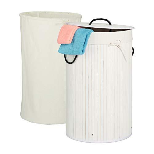 Relaxdays Wäschekorb Bambus, faltbarer Wäschesammler mit Deckel, 70 Liter, tragbar, 2 Wäschesäcke, rund, Ø 41,5 cm, weiß, 1 Stück