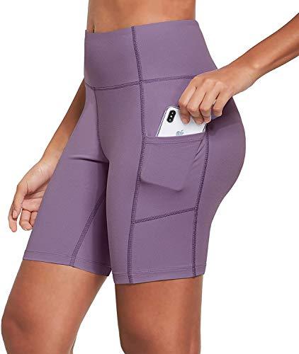 Ogeenier 8' Pantalones Cortos Deporte Mujer, Pantalon Corto Running Fitness Yoga Mallas Cortas con Bolsillos