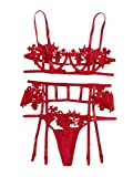 Florens Women's lace Lingerie Set with Garter Belts Choker and Stockings Red M