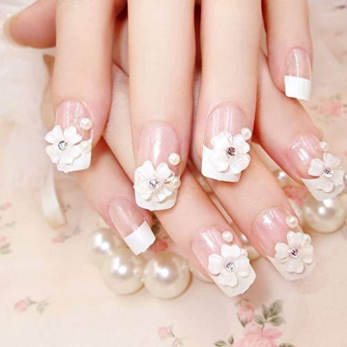 ZDNB 24 Piezas de Flores francesas Naturales uñas postizas Cortas uñas acrílicas de Cubierta Completa con Estuche Simple, Blanco, francés