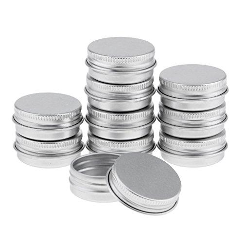 Hellery Kit de 5pcs Vide Pots de Voyage en Aluminium Conteneurs Cosmétiques Rondes pour Baume Bougie Stockage - argent, 15 ml 10pcs