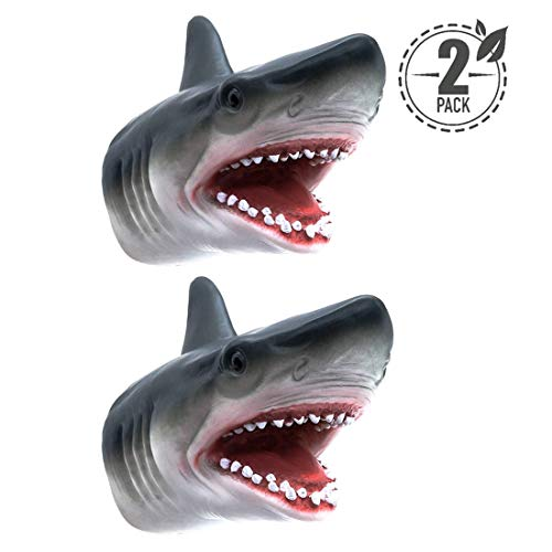 Tecesy Shark Hand Puppet Toys Soft Rubber Shark Puppets Role Play Toy for Kids Realistic Shark Head 7 inch (2 Pack)