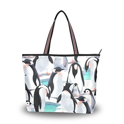 NaiiaN Geldbörse Einkaufstasche Pinguin Herde Schneelicht Gewicht Gurt Umhängetaschen für Frauen Mädchen Damen Student Handtaschen