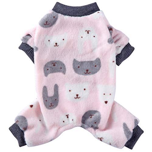VILLCASE Haustier Pyjama Welpen Shirt Welpen Kleidung Overall Haustier Kleidung Fleece Katzenmantel für Haustier Katze Hund nach Hause