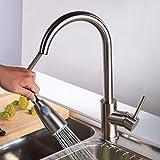 JACKWS Altavoz de Acero Inoxidable Typle Kitchen Extraiga el Grifo Mezclador de Fregadero de Agua