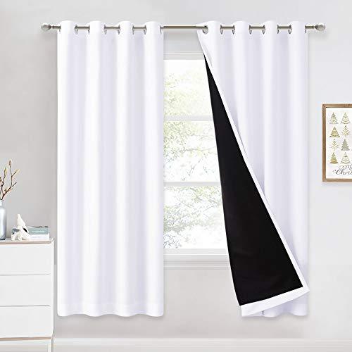 NICETOWN Cortinas Opacas Moderno - Blancos Blackout con Forro Negro para Sala, 2 Piezas, 140 x 175 CM, Blanco