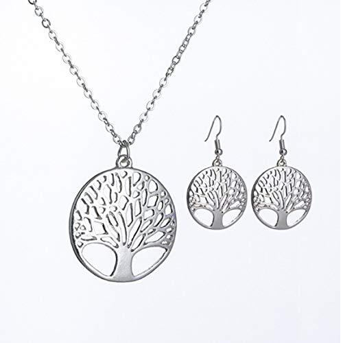 Persdico Fashion 925 Silver Collar con Colgante de árbol de la Vida Chapado en Plata Caliente más Popular 18 Pulgadas