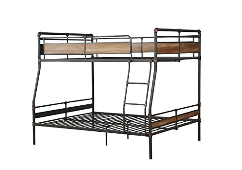 HomeRoots Full XL/Queen Bunk Bed, Sandy Black & Silver - Metal, Wood Sandy Black & Silver