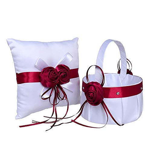 Wedding White and Red Ring Bearer Pillow & Wedding Flower Girl Basket Set Wedding Accessories Supplies