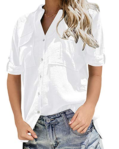 Niitawm Womens V Neck Blouse Shirts Button Down Short Sleeve Casual Loose Collared Tops with Pockets White