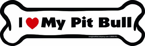 Imagine This Bone Car Magnet, I Love My Pit Bull, 2-Inch by 7-Inch