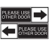 Please Use The Other Door Sticker, Set of 2, Black and White, Vinyl, Self-Adhesive