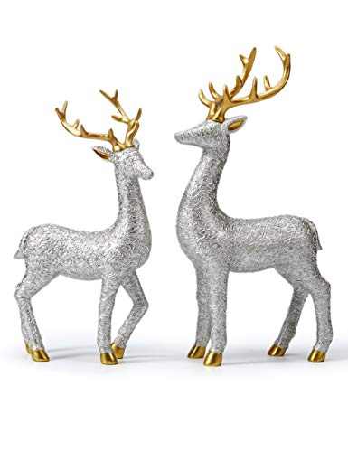 Amoy-Art 2pcs Statue Figurine Lovers Deer Sculpture Reindeer Decor Animal for Home Gifts Souvenirs Giftbox Polyresin Silver 30cmH
