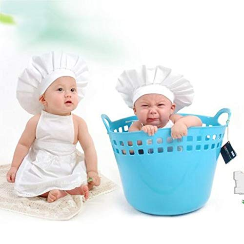 Baby Hat - Cute Baby White Cook Costume Photo Photography Prop Outfit Newborn Hat Apron Chef Clothes DIY Funning Props For Kids - Blanco