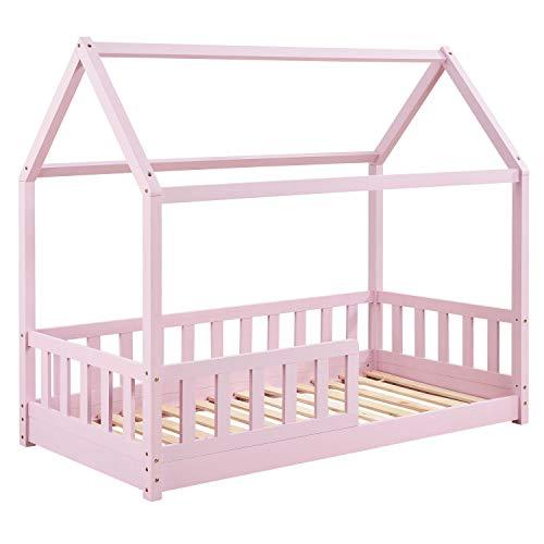 ArtLife Kinderbett Marli 80 x 160 cm mit Rausfallschutz, Lattenrost und Dach - Hausbett für Kinder aus Massivholz - Bett in Rosé