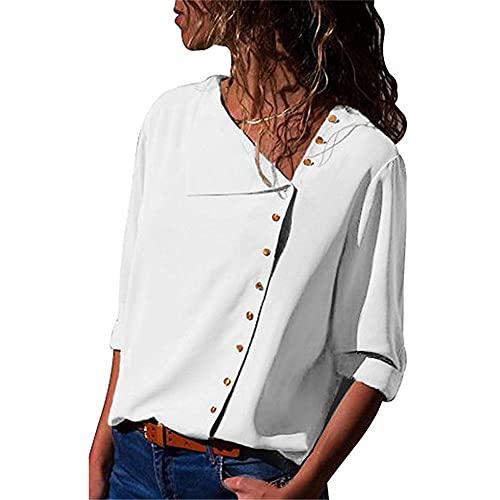 Camisa Mujer Manga Larga Sexy Elegante Botón De Solapa Irregular Camisa De Gasa Verano Dulce Elegante Suelto Cómodo Vacaciones Ocio Mujeres Tops Mujeres Camisetas A-White XXL