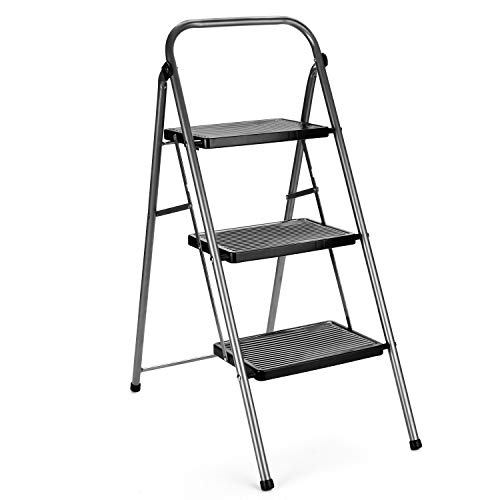 Delxo Step Ladder 3 Step Folding Step Stool with Anti-Slip Wide Pedal,Hold Up to 330lb Sturdy Steel 3 Step Stool,Lightweight Folding Step Ladder for Adults Grey