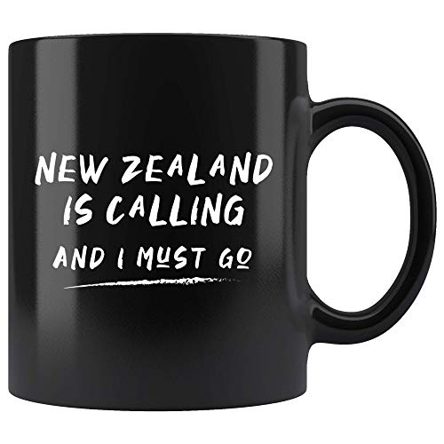 New Zealand Is Calling And I Must Go Mug 11oz in Black - Kiwi New Zealand Traveler Gift