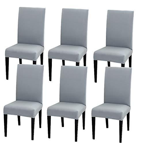 COZYSENSE Stuhlbezüge, Esszimmerstuhlbezüge 6Er-Set, Abnehmbare Stretch-Schonbezüge Aus Spandex-Stoff Für Die Zeremonie Im Speisesaal des Restaurants (Anthrazit)