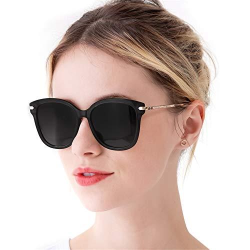 RazLiubit Gafas De Sol Mujer Ojo De Gato Modernas Marco Metal Lentes (Negro)