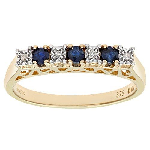 Naava Women's Sapphire and Diamond Eternity Ring, 9 ct Yellow Gold, Half Eternity Set, Round Cut, 0.02 ct Diamond Weight,Size U