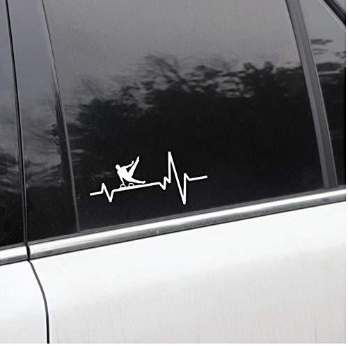 Yangjingkai 2 Stks Gymnastiek Heren Paard Een Hand Pak Heartbeat Vinyl Wit Auto Sticker 15.8Cm*7.3Cm