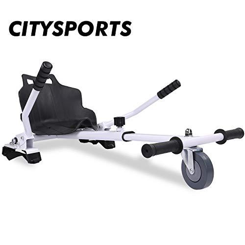 """CITYSPORTS Hoverkart con Asiento, Hoverkart Universal Fijación Ajustable, Compatible con Hoverboard de 6.5""""a 10"""" (Blanco)"""