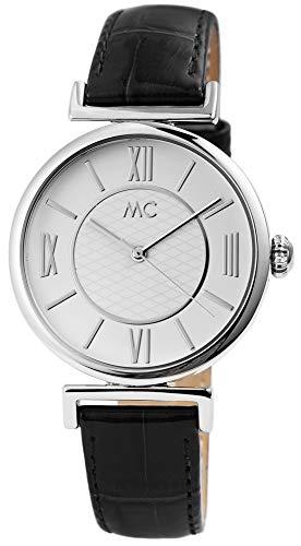 MC Timetrend Germany Damenuhr Weiß Schwarz Analog Edelstahl Echt-Leder Armbanduhr