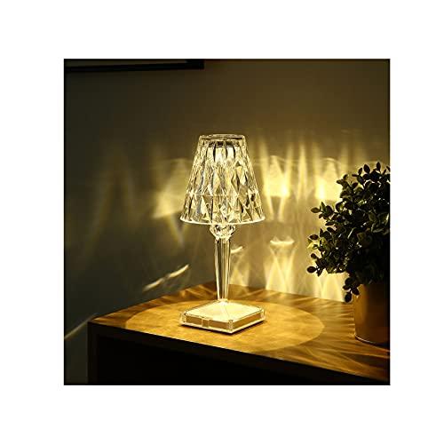 AKKY Luz Nocturna LED,LáMpara De Escritorio LED con Cargador InaláMbrico,Cristal AtmóSfera Lampara De Noche,Control Tactil,para Leer,Estudiar,Relajamiento,Blanco