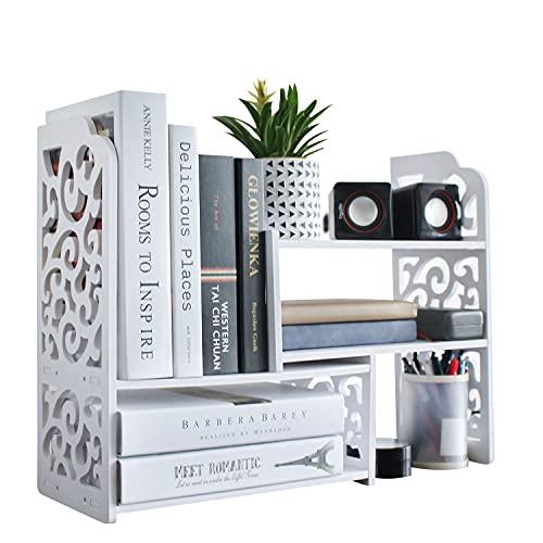 YGYQZ Small Bookshelf for Desktop Storage, Mini Narrow Desk Dresser White Versatility Organizers for Women, Kids, Men for Cute Office Decor Accessories