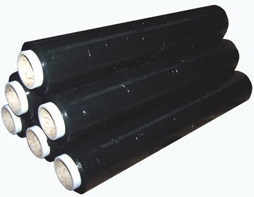 6 Rolls Black Pallet Stretch Shrink Wrap 200 metre, 400mm wide.