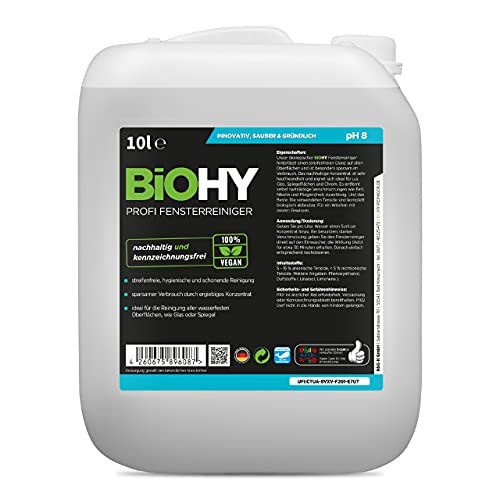 BiOHY Detergente per finestre professionale (Lattina da 10 litri) | Detergente per vetri concentrato, ideale per tutti i LAVAVETRI, Kärcher, Leifheit (Profi Fensterreiniger)