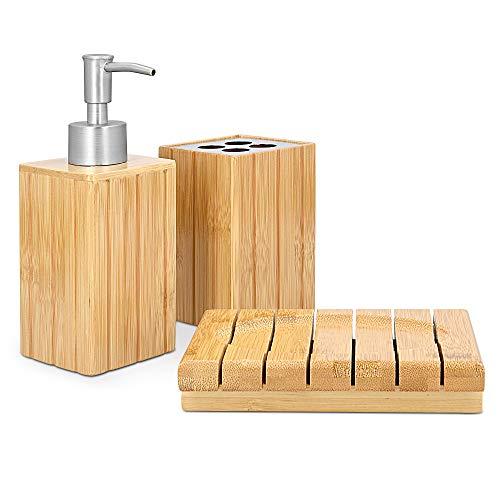 Navaris Badezimmer Set Bambus 3-teilig - dekoratives Badzubehör mit Zahnputzbecher, Seifenspender und Seifenschale - Bad Accessoires aus Bambus