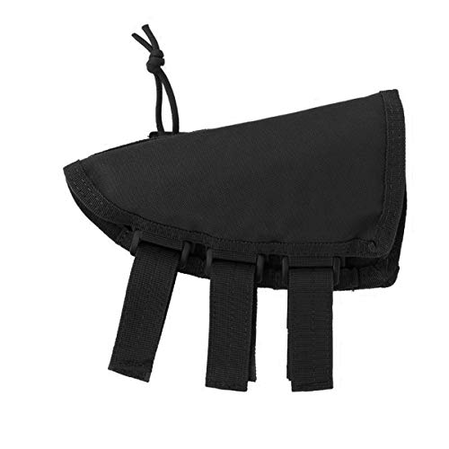 CRUSHUNT Rifle Buttstock Portable Adjustable Tactical Shell Holder Cheek Rest Pouch Holder Pack with Ammo Carrier Case Black