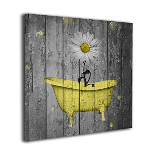 Yanghl Canvas Wall Art Prints Yellow Gray Daisy Flower Bubbles Rustic Farmhouse Modern Decorative Artwork for Wall Decor and Home Decor Framed Ready to Hang 12