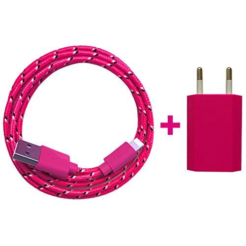 USB Netzteil 5V 1A + 2m Nylon USB Ladekabel Datenkabel Set kompatibel mit [Apple iPhone 10 X 8 8 Plus 7 7 Plus 6S 6S Plus 6 6 Plus 5S 5C 5 SE, iPad   iPod] pink