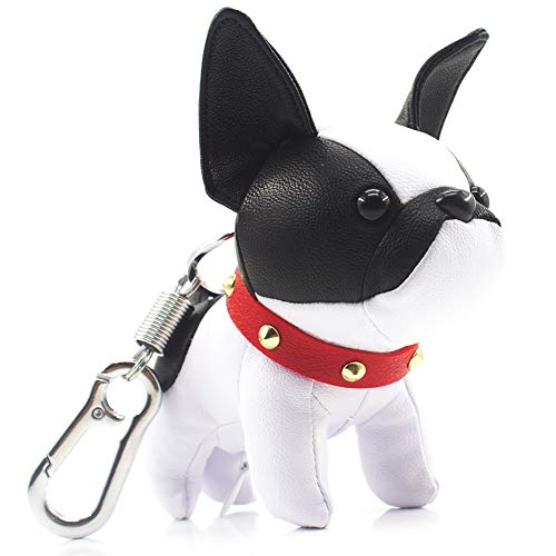 French Bulldog Keychains for Women, SALTY FISH Cute Keychain Accessories for Car Key Chain Ring Bag Charm,Birthday Gifts for Women Men Girls Mom Dad Kids Dog Lover (White-Black)