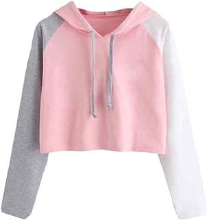 HEFASDM Women's Casual Long-sleeve Spell Color Crop Tops Hoodies Sweater Pullover AS2 S