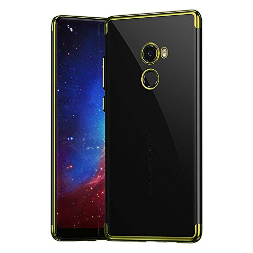 Funda Xiaomi MI Mix 2 Case,Chapado Carcasas Color metálico Protector Transparente Suave TPU Gel Silicona Bumper Anti-Arañazos Cover Flexibilidad Ultra Fino Protección (Oro)